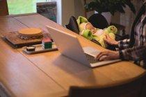 Розділ середині матері, використовуючи ноутбук під час догляду за дитиною вдома — стокове фото