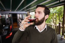 Close-up of man having glass of wine in bar — Stock Photo