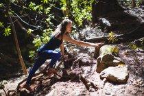 Donna trekking in montagna nella foresta in una giornata di sole — Foto stock