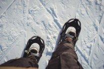 Close up de sapatos de esquiador na paisagem coberta de neve — Fotografia de Stock