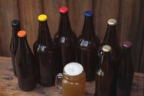 Homemade beer bottles and a mug of beer in a home brewery — Stock Photo