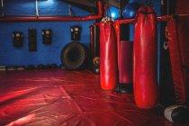 Bolsas de boxeo rojas colgando en el interior del gimnasio - foto de stock