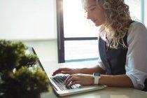 Бизнес-руководитель с помощью ноутбука в офисе — стоковое фото