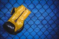 Боксерская перчатка висит на проволочной сетке забора в фитнес-студии — стоковое фото