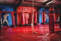 Bolsos de boxeo rojos y cuerda colgando en el gimnasio - foto de stock