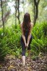 Задний вид женщины, занимающейся йогой в лесу — стоковое фото