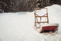 Empty sleigh in snow during winter — Stock Photo