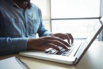 Ejecutivo de negocios usando portátil en la oficina - foto de stock