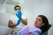 Portrait of a nervous woman in the dentist clinic — Stock Photo