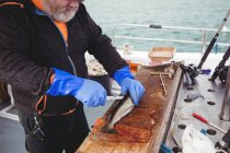 Cropped image of Fisherman filleting fish in boat — Stock Photo