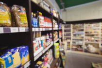 Blurred view of grocery section in supermarket — Stock Photo