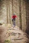 Vue de face d'un motard sur un chemin de terre en forêt — Photo de stock