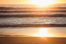 Plage de sable fin au coucher du soleil — Photo de stock