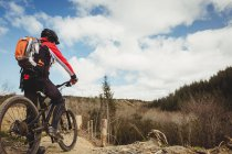 Вид сзади на велосипед на горе на велосипеде — стоковое фото