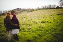 Visão traseira do casal com o braço em torno de pé no parque — Fotografia de Stock