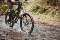 Низкая часть горных велосипедистов в ручье в лесу — стоковое фото