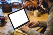 Milieu de section de l'homme en utilisant un ordinateur portable à la maison — Photo de stock
