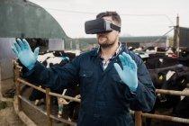Молодой фермер использует симулятор виртуальной реальности против коров в сарае — стоковое фото