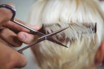 Immagine ritagliata di donna ottenere i capelli tagliati al salone — Foto stock