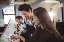 Mulher selecionando a cor do cabelo com estilista no salão de cabeleireiro — Fotografia de Stock