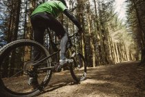 Low angle view of mountain biker riding on dirt road in forest — Stock Photo