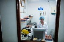 Жіночий співробітників, що працюють на реєстрації разом із комп'ютером у яйце заводу — стокове фото
