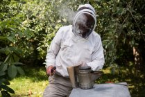 Beekeeper smoking bees away from hive in apiary garden — Stock Photo