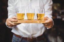 Средняя секция бармена, держащего поднос стаканов виски у барной стойки в баре — стоковое фото