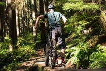 Вид сзади на мужчину-велосипедиста, идущего с горным велосипедом в лесу — стоковое фото