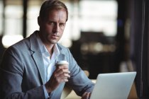 Portrait of businessman working on laptop while having coffee at cafe — Stock Photo