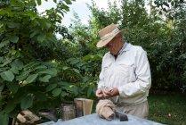 Apicultor atento trabalhando no jardim apiário — Fotografia de Stock