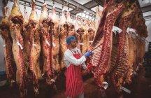 Açougueiro examinando as carcaças de carne vermelha penduradas na sala de armazenamento do açougue — Fotografia de Stock