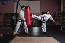 Спортсменка и спортсмен практикуют карате с боксерской грушей в студии — стоковое фото