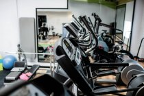 View of empty gym equipment in fitness studio — Stock Photo