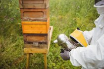 Geschnittenes Bild eines Imkers mit Bienenraucher auf dem Feld — Stockfoto