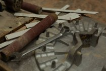 Close-up of molding and spanner in foundry workshop — Stock Photo
