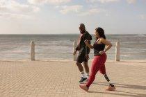 Пара пробежек по набережной в солнечный день — стоковое фото
