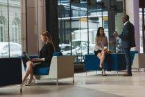 Vista lejana de empresaria usando laptop mientras que compañeros de trabajo interactuando entre sí en el vestíbulo en la oficina - foto de stock