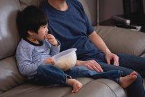 Vista frontal de un feliz padre e hijo asiáticos sentados en el sofá y comiendo palomitas de maíz mientras ven la televisión en casa - foto de stock