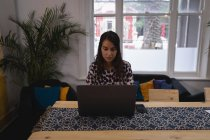 Vista dianteira do executivo fêmea da misturado-raça bonita que trabalha no portátil na mesa no escritório — Fotografia de Stock