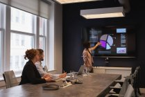 Vista posteriore della donna d'affari afroamericana che presenta un nuovo piano di progetto ai colleghi in una sala riunioni — Foto stock