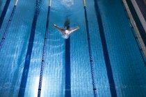 Высокий угол обзора самца белого пловца в белой плавательной шапочке, делающего инсульт бабочки в бассейне — стоковое фото