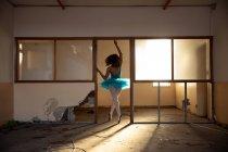Вид сзади на молодую балетную танцовщицу смешанной расы в голубой пачке и пуантах, танцующую в дверях заброшенного складского здания, подсвеченного солнечным светом — стоковое фото