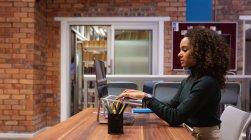 Vista laterale da vicino di una giovane donna di razza mista che lavora nell'ufficio di un'azienda creativa seduta a una scrivania utilizzando un computer portatile — Foto stock