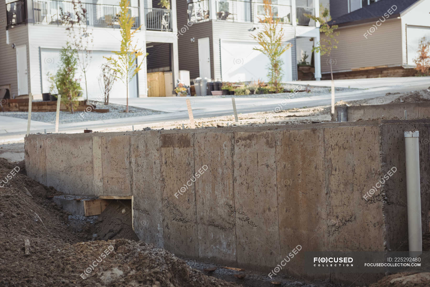 Concrete Foundation With Drainage Pipe At Construction Site Outdoor Renovation Stock Photo 225292480