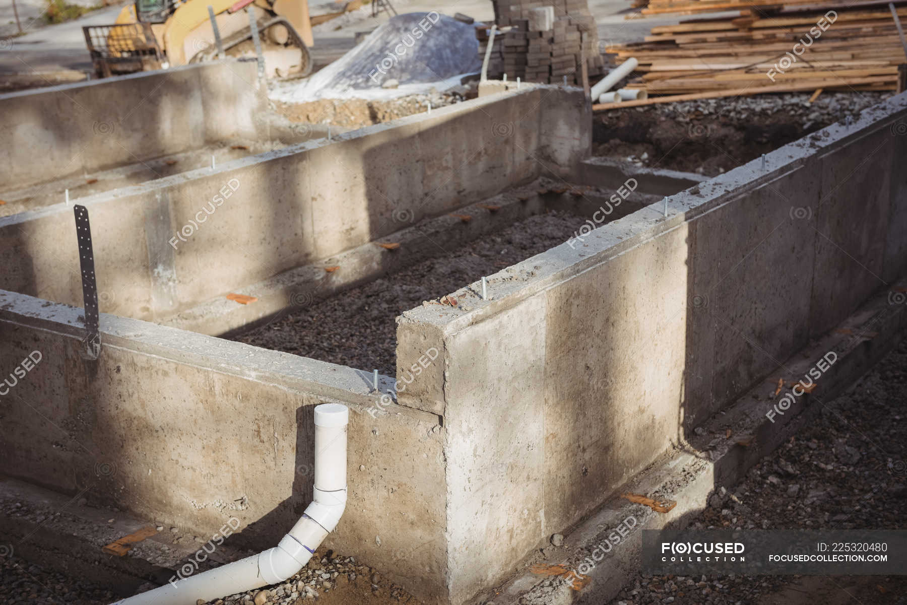 Concrete Foundation And Drainage Pipe At Construction Site Tube Development Stock Photo 225320480