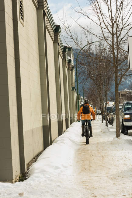 Rear view of man riding his bicycle on sidewalk during winter — Stock Photo