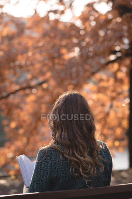 Rear view of woman reading a book in the park — Stock Photo