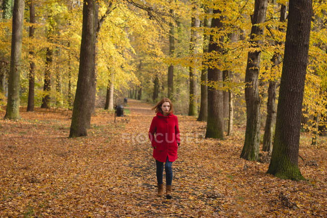 Woman walking alone in the park during autumn — Stock Photo