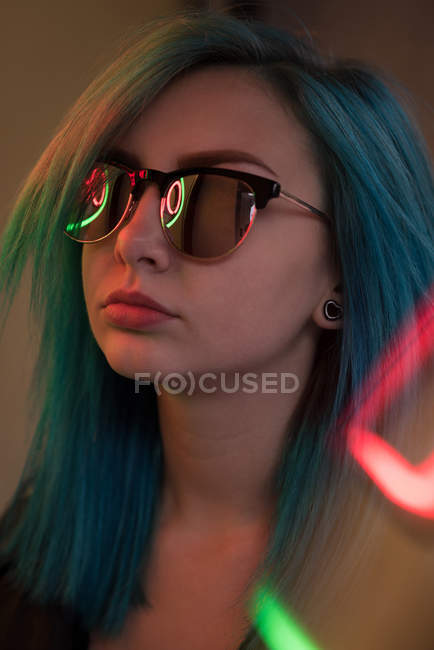 Close-up of stylish woman in sunglasses — Stock Photo